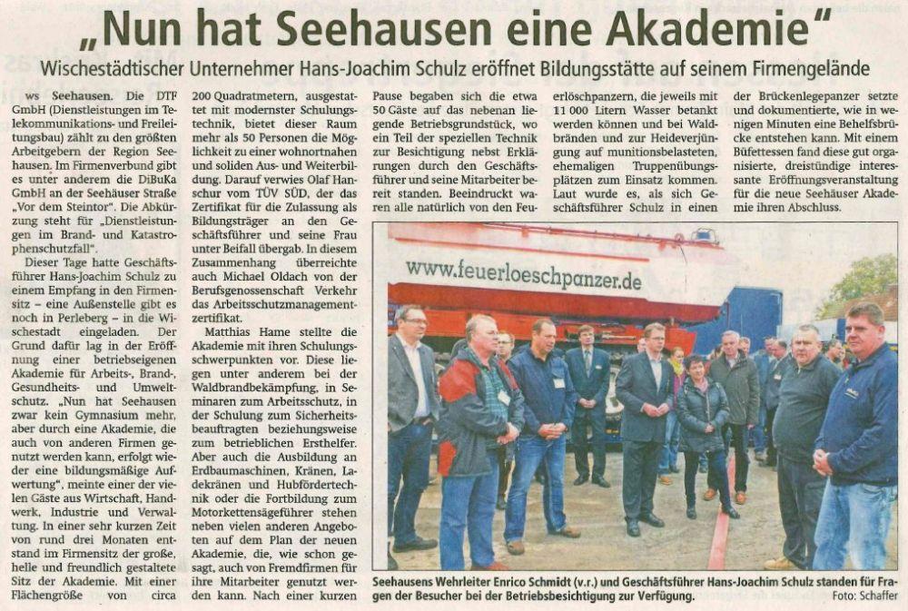 Seehausen hat eine Akademie (© Text und Bild: Volksstimme)