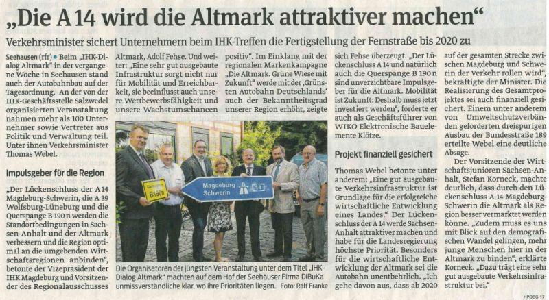 Presse-Die A14 wird die Altmark attraktiver machen